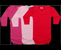 Set 3 Rompertjes Lang Mouw rood-roze-fuchsia