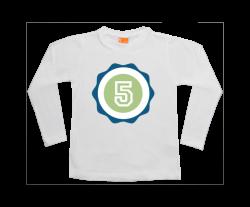 Jongens t-shirt lang: Badge Cijfer - Letter