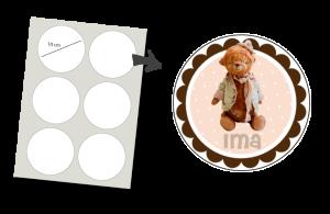 Stickers Rond 6 stuks: Teddybeer met hoedje