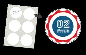 Stickers Rond 6 stuks: Nummer en Naam