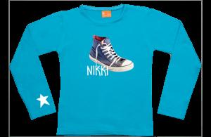 Meisjes t-shirt lang: Sneaker, ster & naam
