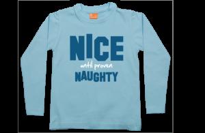 Jongens t-shirt lang: Nice until proven naughty