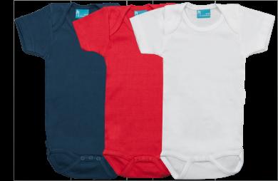 Set 3 Rompertjes Kort blauw-rood-wit