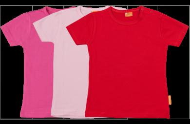 Set 3 Baby T-shirts Kort fuchsia, roze, rood