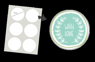 Stickers Rond 6 stuks: With Love