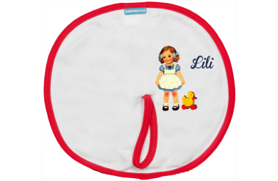 Speenslab: Lief meisje met speelgoed eendje