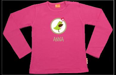Meisjes t-shirt lang: Cirkel Vogeltje met naam