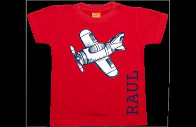 Jongens t-shirt: Vliegtuigje met Naam