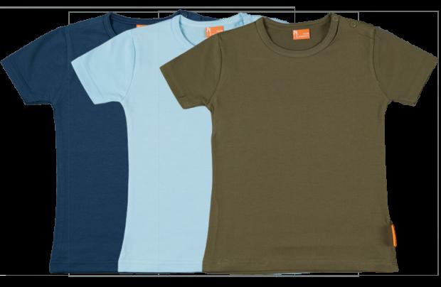 Set 3 Baby T-shirts Kort dblauw, lblauw, groen