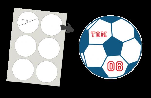 Stickers Rund 6 Stück: Fußball