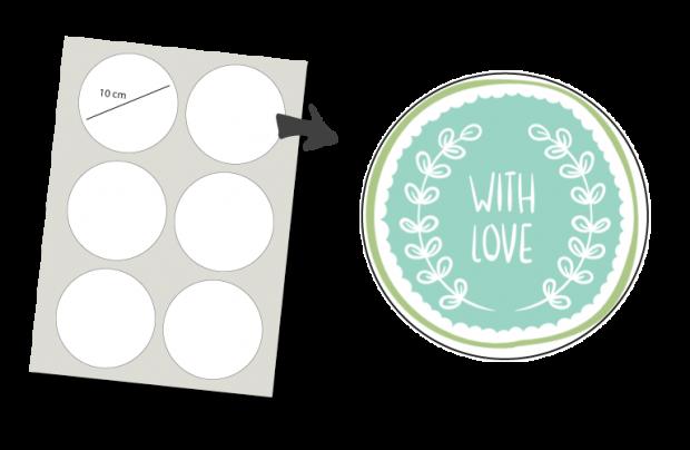 Stickers Rund 6 Stück: With Love