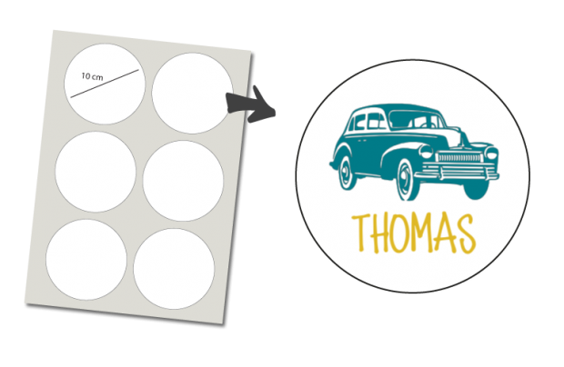 Stickers Rund 6 Stück: Oldtimer