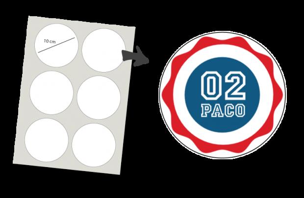 Stickers Rund 6 Stück: Nummer und Name