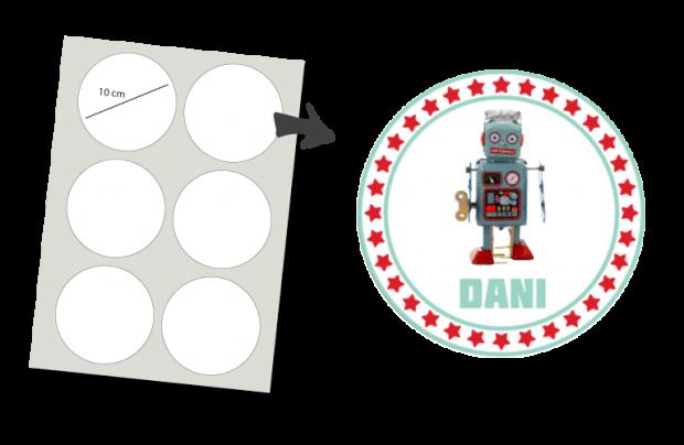 Stickers Rund 6 Stück: Robot