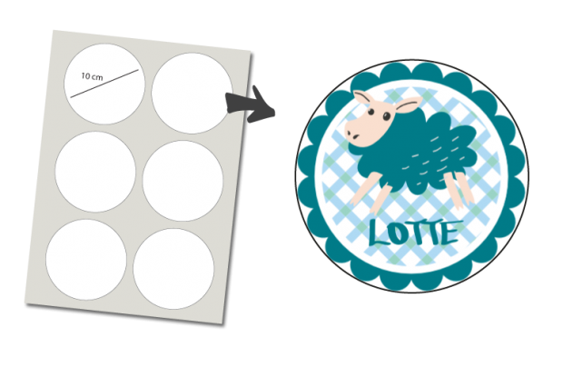 Stickers Rund 6 Stück: Schaf