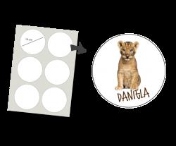 Stickers Rund 6 Stück: Löwe