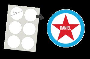 Stickers Rund 6 Stück: Sterne