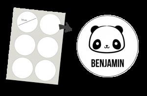 Stickers Rund 6 Stück: Panda
