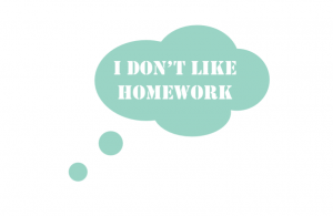 Wand/Tür sticker Quadrat: Don't like homework