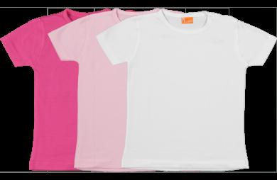 Set 3 Baby T-shirts Kort fuchsia, roze, wit