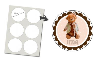 Stickers Rund 6 Stück: Teddy Bär