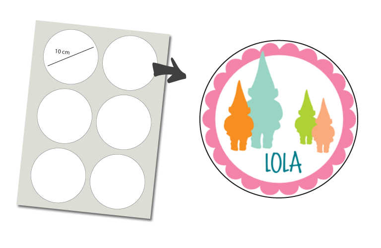 Sorprentas, Stickers Rond 6 stuks: Kabouter