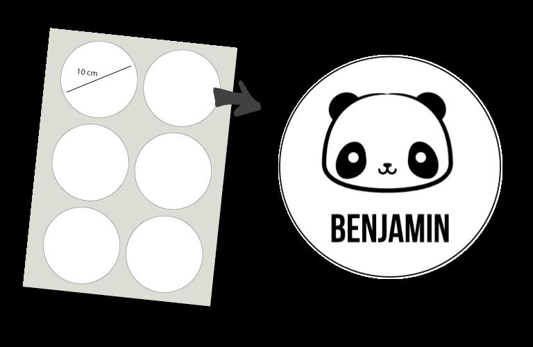 Sorprentas, Stickers Rond 6 stuks: Panda