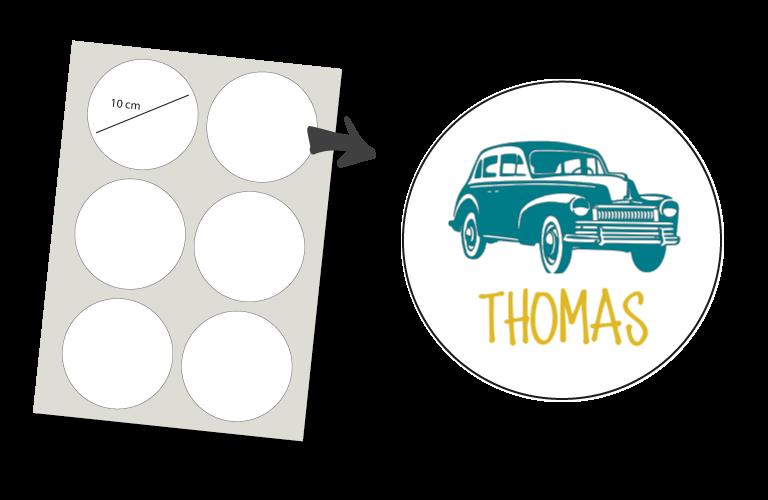 Sorprentas, Stickers Rond 6 stuks: Classic Car