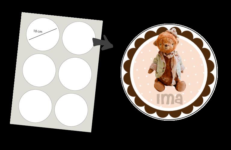 Sorprentas, Stickers Rond 6 stuks: Teddybeer met hoedje