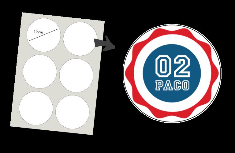 Sorprentas, Stickers Rond 6 stuks: Nummer en Naam