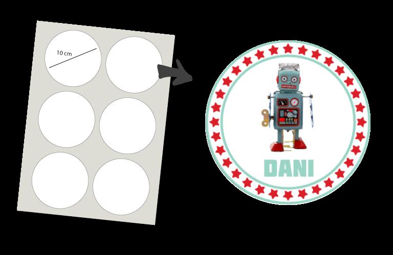 Sorprentas, Stickers Rond 6 stuks: Robot