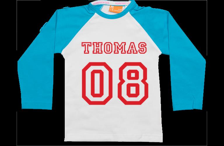Sorprentas, Raglan t-shirt: Naam & Nummer
